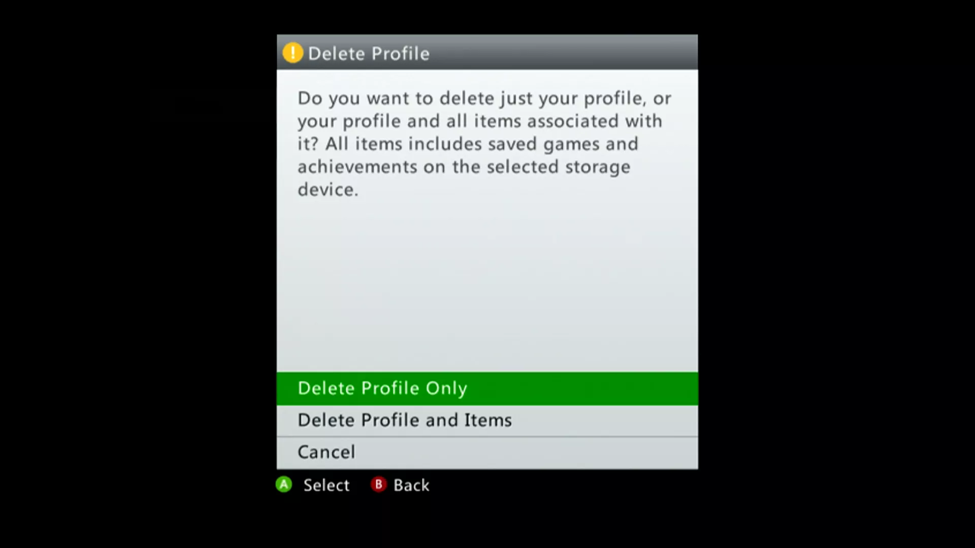 Delete Profiles on Xbox 360